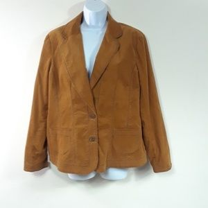 COLDWATER CREEK EMBROIDERED CORDUROY BLAZER
